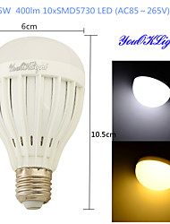 Ampoules Globe LED Décorative Blanc Chaud / Blanc Froid YouOKLight 1 pièce B E26/E27 5W 10 SMD 5730 400 LM AC 85-265 V