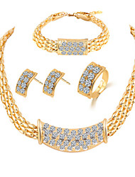 Fashion Zircon Shining Gold Plated Jewelry Set(Necklace&Earring&Bracelet&Ring)