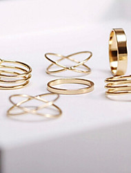 Alloy Multilayer Shape Adjustable Ring Set Midi Rings(Set of 6)