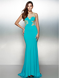 Formal Evening Dress Trumpet / Mermaid Scoop Sweep / Brush Train Jersey with Appliques