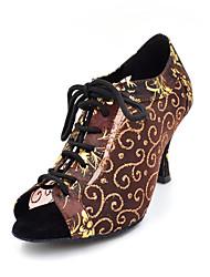 Non Customizable Women's Dance Shoes Latin / Swing Shoes / Salsa Suede / Velvet / Flocking Chunky Heel Black / Brown
