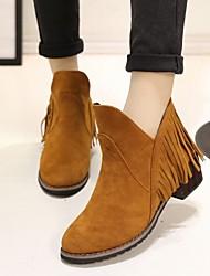 Women's Spring / Fall / Winter Fashion Boots Fleece Dress / Casual Low Heel Tassel Black / Yellow / Gray