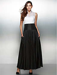 TS Couture Formal Evening Dress - Color Block A-line V-neck Ankle-length Organza Taffeta with Buttons