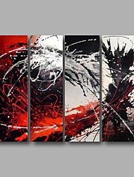 Ready to Hang Stretched Hand-Painted Oil Painting Four Panels Canvas Wall Art Modern Red Grey Black Abstract