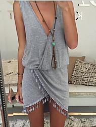 нерегулярные Глубокий V бахрома прочистки рукавов мини-платье женская (серая)