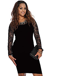Women's Plus Sizes Party Dress Long Sleeve Knee-length Clubwear Sexy Dress (Lace/Nylon/Elastic)
