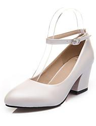 Women's Shoes PVC / Leatherette Chunky Heel Heels Heels Wedding / Office & Career / Dress / Casual Black / White