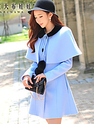 Women's Solid Blue Coat ,  Long Sleeve