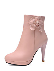 Damen Pumps Kunststoff Winter Normal Pumps Stöckelabsatz Weiß Rosa Hellblau Mandelfarben 7,5 - 9,5 cm
