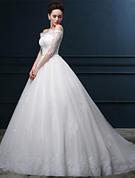 Ball Gown Wedding Dress Lacy Look Chapel Train Off-the-shoulder Lace Satin Tulle with Crystal Lace