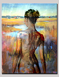Hand-Painted Beauty Nude Back Abstract Portrait Modern Oil Painting , Canvas One Panel With Frame Ready to Hang