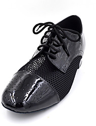 Non Customizable Men's / Kids' Dance Shoes Swing Shoes / Flamenco Patent Leather Low Heel Black