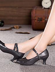 Women's Dance Shoes Latin Flocking Chunky Heel Black / Blue