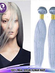 3pcs / lot paquetes armadura del pelo gris pelo virginal recta gris plata extensiones de cabello de salud brasileña del pelo humano