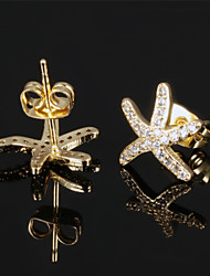 Starfish Vacuum Plating Fastness 18 K Gold Women Stud Earrings