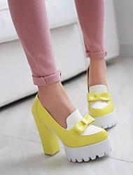 Черный / Синий / Желтый - Женская обувь - На каждый день - Дерматин - На толстом каблуке - На каблуках / На платформе / С круглым носком -