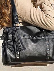Women PU Weekend Bag Shoulder Bag - Black