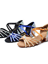 Customized Women's and Girl's Dance Shoes Full Diamond Toe Cowhide Soles Modern/Latin/ Samba Blue/Black/Brown