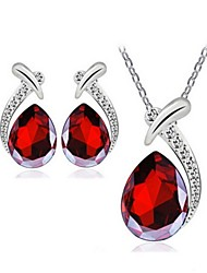 High Quality Water Drop Pendant Jewelry Set Necklace Earring (Assorted Color)