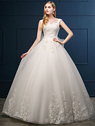 Ball Gown Wedding Dress Floor-length Scoop Tulle with Appliques / Bow / Lace / Pearl