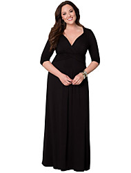 Women's Sexy Plus Size Beach Casual Party V Neck ¾ Sleeve Maxi Dress (L-XXXL)