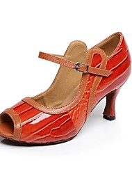 Non Customizable Women's Dance Shoes Latin Leather / Patent Leather Flared Heel Red