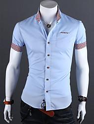 blanco / / camisa azul tamaño más negro de los hombres, mezcla de algodón casual / trabajo / manga corta pura formales