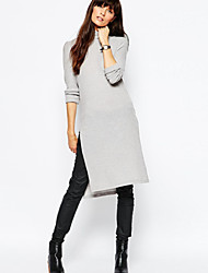 Women's Casual Solid Shift Dress , Stand Knee-length Acrylic