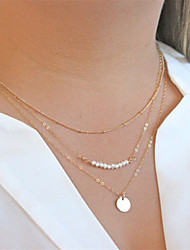 Women's Pendant Necklaces Chain Necklaces Pearl Alloy Fashion Golden Jewelry Party Daily Casual 1pc