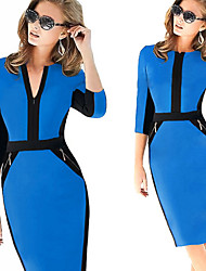 DreamWorks Women's Color Block Multi-color Dresses , Sexy / Bodycon / Party V-Neck ¾ Sleeve