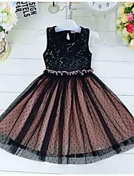 Girl's Black Dress,Dot Polyester Summer