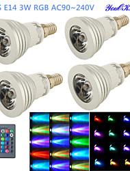 YouOKLight® 4PCS E14 3W RGB 1-LED 16-Color Decorative Lamp w/ Remote Control - Silver + White (AC 90~240V)