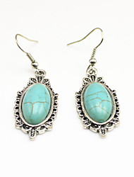 Vintage Look Antique Silver Plated Stone Turquoise Alloy Dangle Drop Earring(1Pair)