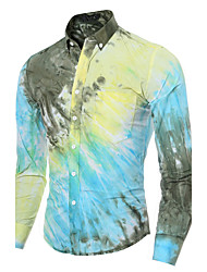 Brand Fashion Men cultivating long-sleeved shirt casual shirt printing Cotton / Polyester Casual / Sport Print