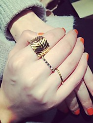 Leaf Shape Adjustable Ring Set Midi Rings(3pcs)