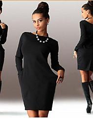 Robes ( Polyester ) Vintage / Sexy / Informel / Imprimé / Soirée Bateau à Manches longues pour Femme