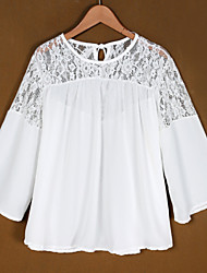 Women's Lace Stitching  Loose Chiffon Blouse