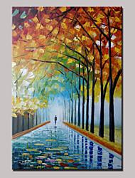 arbres de marche peints à la main paysage abstrait couteau moderne peinture à l'huile avec cadre prêt à accrocher