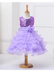 Ball Gown Knee-length Flower Girl Dress - Polyester Sleeveless