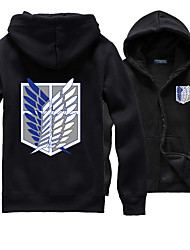 Inspirado por Attack on Titan Allen Walker Anime Fantasias de Cosplay Hoodies cosplay Cor Única / Estampado Preto Manga Comprida Top