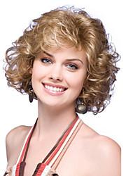Moda senhora cor loiro encaracolado perucas sintéticas cosplay