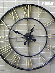 E-HOME®  Round Metal Wall Clock One Pcs