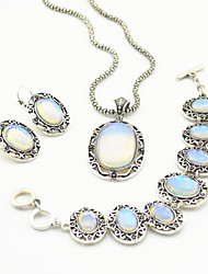 Vintage Antique Silver Natural Opal Transparent Stone Necklace Earring Bracelet Jewelry Set(1Set)