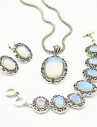 Vintage Antique Silver Natural Opal Transparent Stone Necklace Earring Bracelet Jewelry Set(1Set)