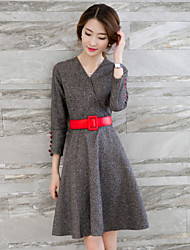 Women's Solid Gray Dress , Vintage / Casual V Neck Long Sleeve
