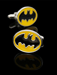 Fashion Copper Men Jewelry Silver Plated Yellow Enamel Bat Delicate Button Cufflinks(1Pair)