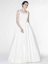 LAN TING BRIDE A-line Wedding Dress Simply Sublime Court Train Square Satin with Bow