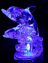 9CM Christmas Dolphin Romantic Colorful Crystal Small Night Light  LED Lamp 1PC