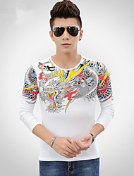 2015 new winter fashion men's dragon stone China style casual long sleeved T-shirt