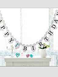 Happy 1st Birthday Baby Boy Girl 's Birthday Banner Hanging Garland Party Decoration with Ribbon